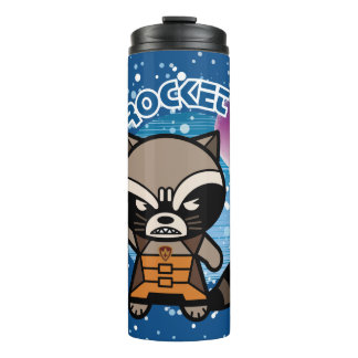 Kawaii Rocket Raccoon In Space Thermal Tumbler