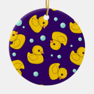 Kawaii Rubber Duckies Double-Sided Ceramic Round Christmas Ornament