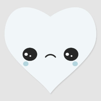 Kawaii Sad Face Heart Sticker