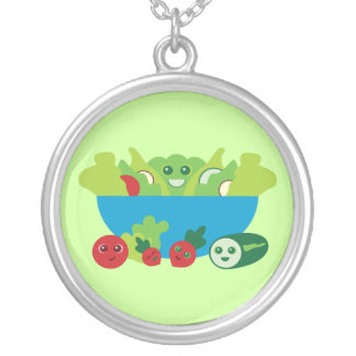 Kawaii Salad Round Pendant Necklace
