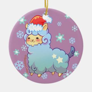 Kawaii Santa Alpaca Ornament