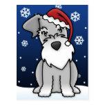 Kawaii Schnauzer Christmas Postcard