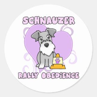 Kawaii Schnauzer Rally Obedience Round Sticker
