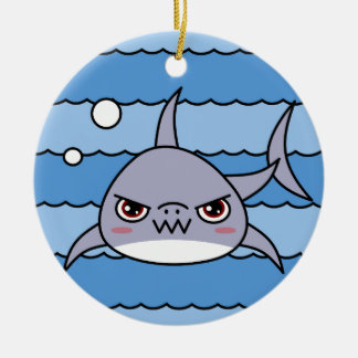 Kawaii Shark Christmas Ornament