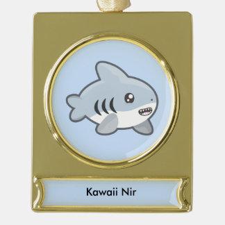Kawaii Shark Gold Plated Banner Ornament