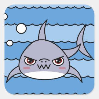 Kawaii Shark Square Sticker