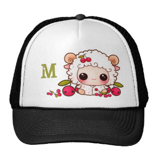 Kawaii sheep and cherries - Monogrammed Cap