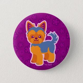 Kawaii Short Hair Yorkie Cartoon Dog 6 Cm Round Badge