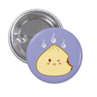 "Kawaii ""SioPao"" Meatbun Bitemark 3 Cm Round Badge"