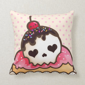 Kawaii skull cupcake cushion