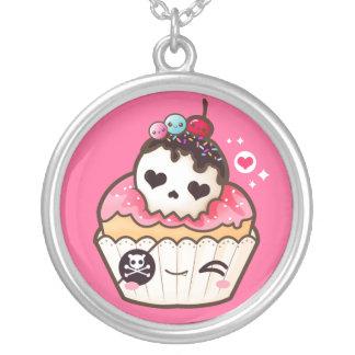 Kawaii skull cupcake round pendant necklace