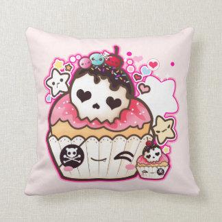 Kawaii skull cupcake with stars and hearts throw pillows