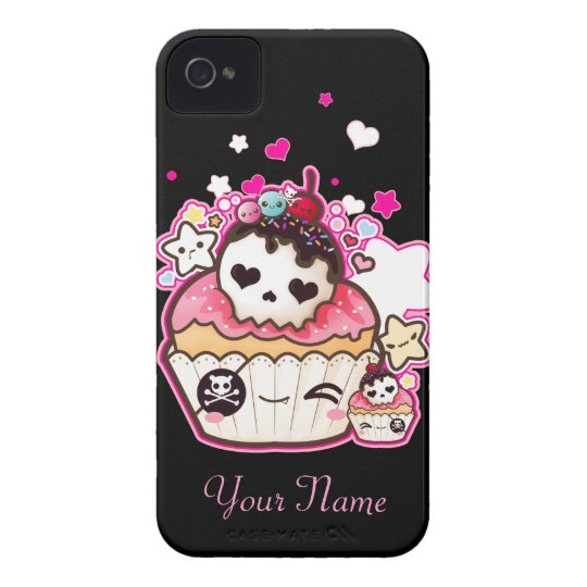 Kawaii skull cupcake with stars and hearts iPhone 4 Case-Mate case