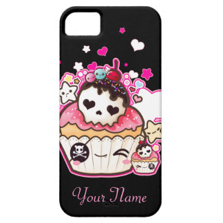 Kawaii skull cupcake with stars and hearts iPhone 5 cover