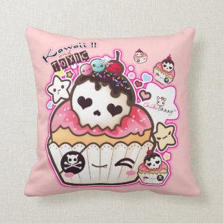 Kawaii skull cupcake with stars and hearts throw cushions