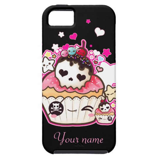 Kawaii skull cupcake with stars and hearts tough iPhone 5 case