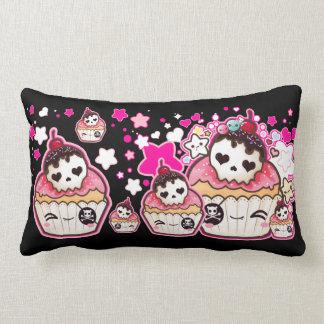 Kawaii skull cupcakes with stars and hearts pillow