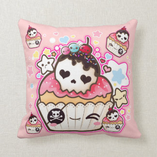 Kawaii skull cupcakes with stars and hearts cushion