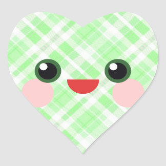 Kawaii Smile Happy Face Green Plaid Heart Sticker