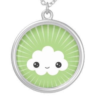 Kawaii Smiley Cloud Round Pendant Necklace