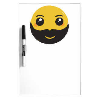 Kawaii Smiley Smiling with Beard & Mustache Dry-Erase Whiteboards