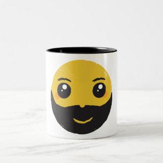 Kawaii Smiley Smiling with Beard & Mustache Two-Tone Coffee Mug