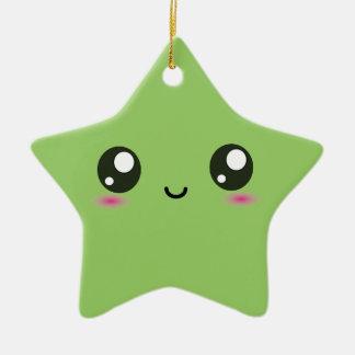 Kawaii smiley star - green christmas ornament
