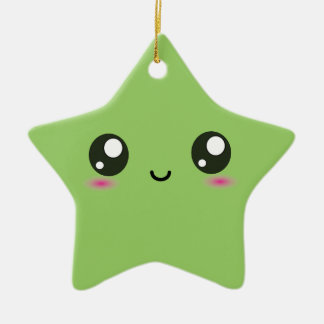 Kawaii smiley star - green Double-Sided star ceramic christmas ornament