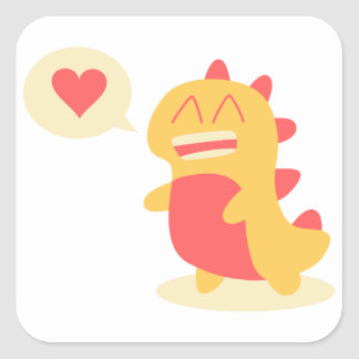 Kawaii smiling Dino talking about love Square Sticker