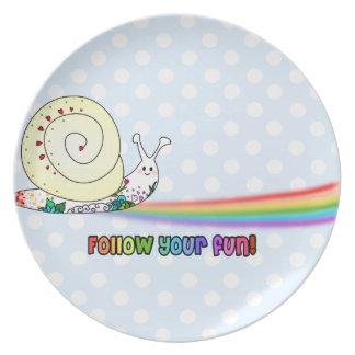 Kawaii Snail following the Rainbow Plate