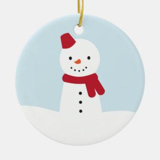Kawaii Snowman Round Ceramic Decoration