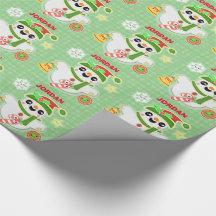 Kawaii Snowman Holiday Christmas Wrapping Paper