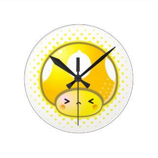 Kawaii Sour Lemon Mushroom Round Clock