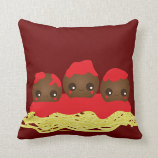 Kawaii Spaghetti & Meatballs  Throw Pillow