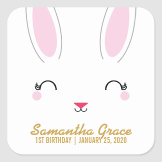 kawaii SPRING BUNNY birthday party favor sticker