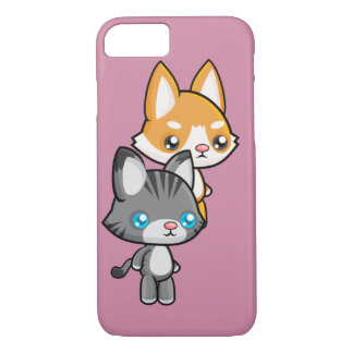 Kawaii Standing Cat and Dog iPhone 7 Case