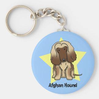 Kawaii Star Afghan Hound Basic Round Button Key Ring