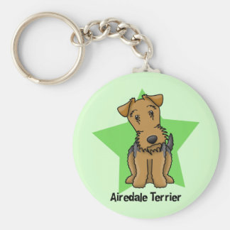 Kawaii Star Airedale Terrier Basic Round Button Key Ring