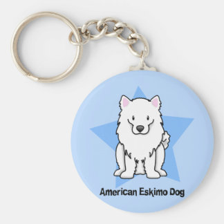 Kawaii Star American Eskimo Dog Basic Round Button Key Ring