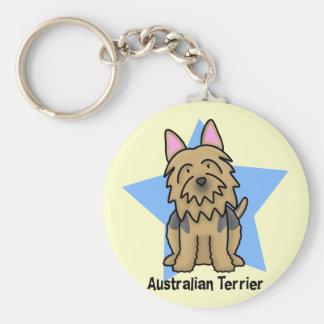 Kawaii Star Australian Terrier Basic Round Button Key Ring