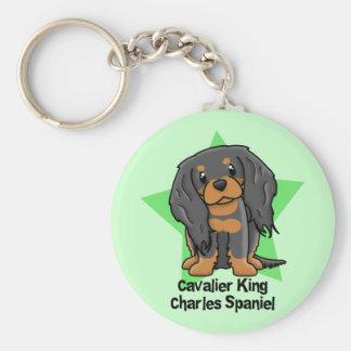 Kawaii Star B&T Cavalier King Charles Spaniel Basic Round Button Key Ring