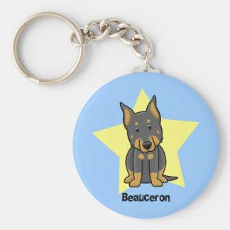 Kawaii Star Beauceron Basic Round Button Key Ring