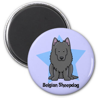 Kawaii Star Belgian Sheepdog 6 Cm Round Magnet