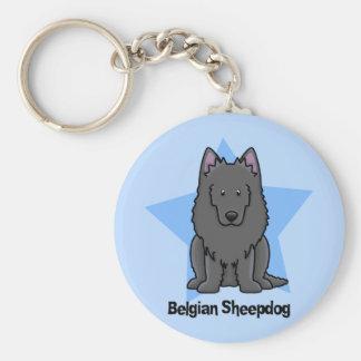 Kawaii Star Belgian Sheepdog Key Chains