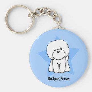 Kawaii Star Bichon Frise Basic Round Button Key Ring