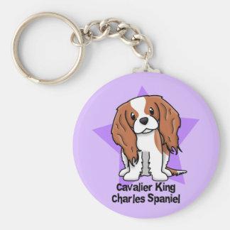 Kawaii Star Blenheim Cavalier King Charles Spaniel Basic Round Button Key Ring