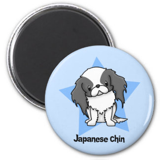 Kawaii Star Blk Japanese Chin 6 Cm Round Magnet