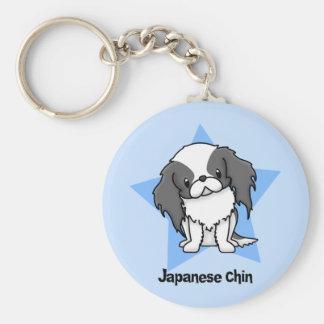 Kawaii Star Blk Japanese Chin Basic Round Button Key Ring