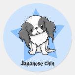 Kawaii Star Blk Japanese Chin Classic Round Sticker