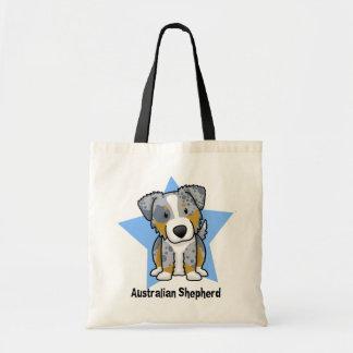 Kawaii Star Blue Merle Australian Shepherd Tote Bag